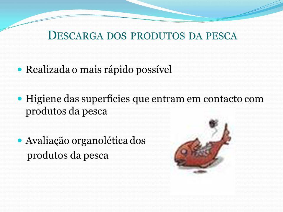 D ESCARGA DOS PRODUTOS DA PESCA Realizada o mais rápido possível Higiene das superfícies que entram em contacto com produtos da pesca Avaliação organo