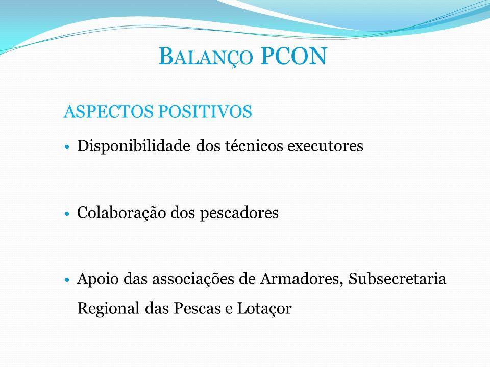 ASPECTOS POSITIVOS Disponibilidade dos técnicos executores Colaboração dos pescadores Apoio das associações de Armadores, Subsecretaria Regional das P