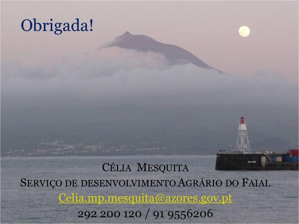 Obrigada! C ÉLIA M ESQUITA S ERVIÇO DE DESENVOLVIMENTO A GRÁRIO DO F AIAL Celia.mp.mesquita@azores.gov.pt 292 200 120 / 91 9556206
