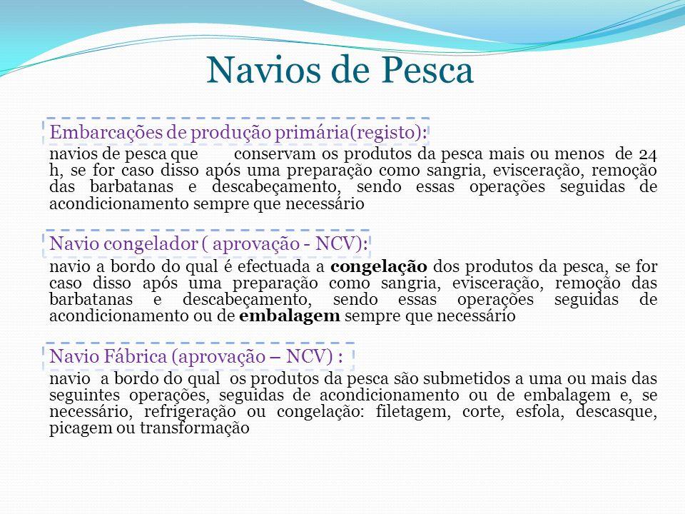 Navios de Pesca Embarcações de produção primária(registo): navios de pesca que conservam os produtos da pesca mais ou menos de 24 h, se for caso disso