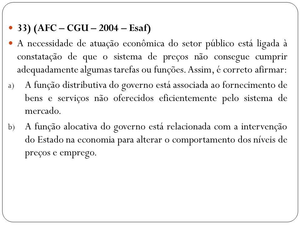 33) (AFC – CGU – 2004 – Esaf) A necessidade de atuação econômica do setor público está ligada à constatação de que o sistema de preços não consegue cu