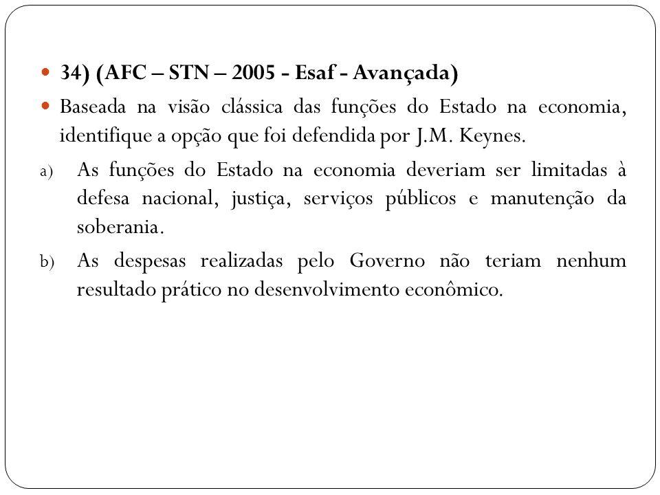 34) (AFC – STN – 2005 - Esaf - Avançada) Baseada na visão clássica das funções do Estado na economia, identifique a opção que foi defendida por J.M. K