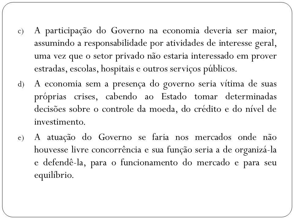 c) A participação do Governo na economia deveria ser maior, assumindo a responsabilidade por atividades de interesse geral, uma vez que o setor privad