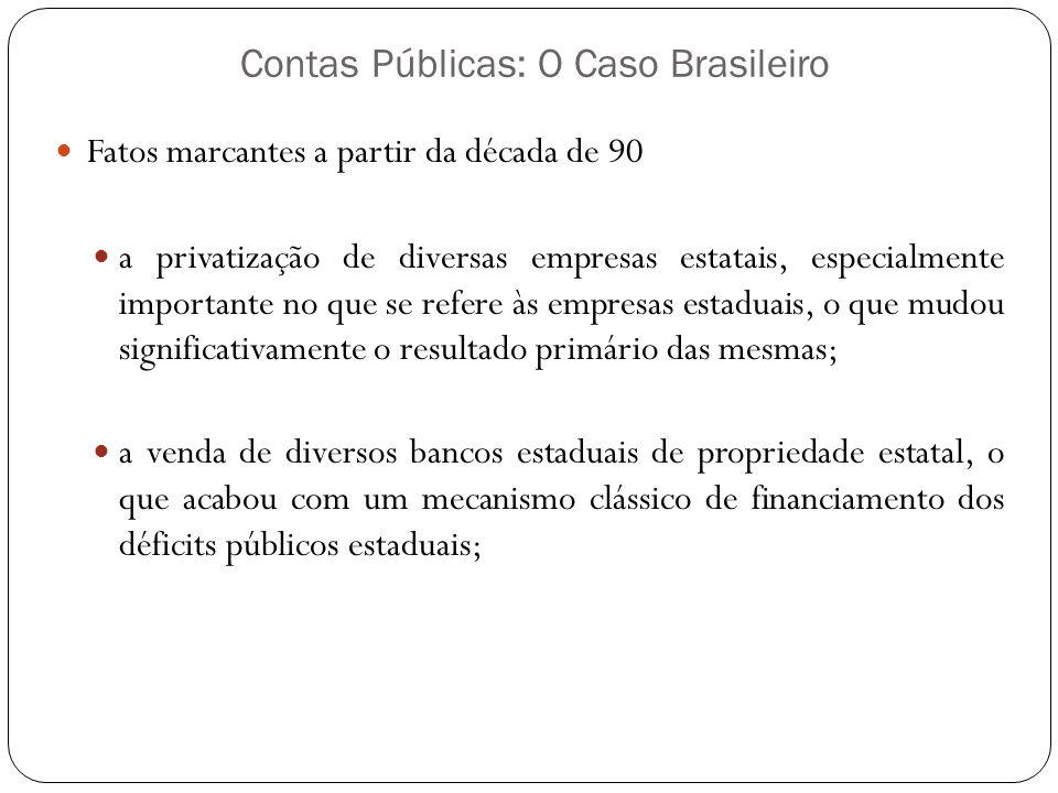 Contas Públicas: O Caso Brasileiro Fatos marcantes a partir da década de 90 a privatização de diversas empresas estatais, especialmente importante no