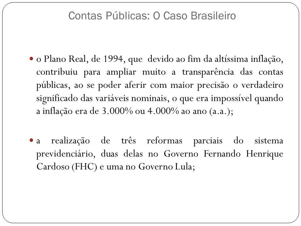 Contas Públicas: O Caso Brasileiro o Plano Real, de 1994, que devido ao fim da altíssima inflação, contribuiu para ampliar muito a transparência das c