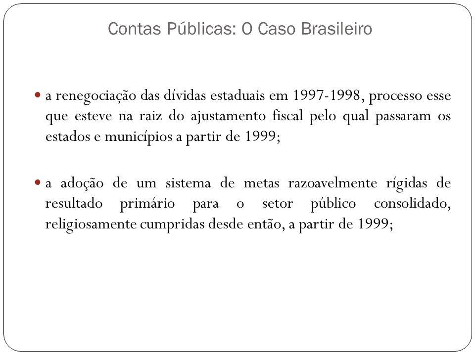 Contas Públicas: O Caso Brasileiro a renegociação das dívidas estaduais em 1997-1998, processo esse que esteve na raiz do ajustamento fiscal pelo qual