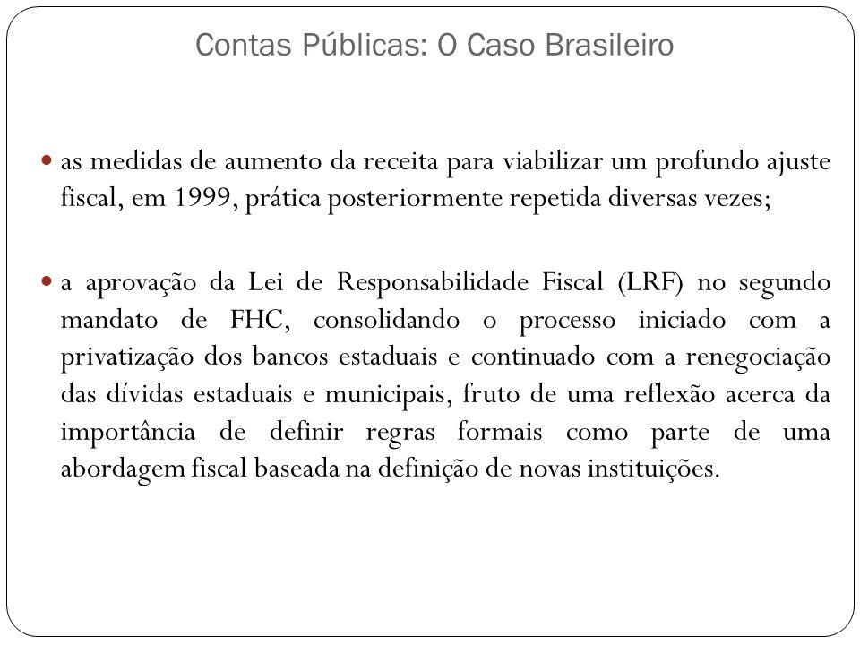 Contas Públicas: O Caso Brasileiro as medidas de aumento da receita para viabilizar um profundo ajuste fiscal, em 1999, prática posteriormente repetid