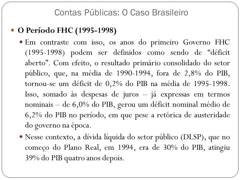 Contas Públicas: O Caso Brasileiro O Período FHC (1995-1998) Em contraste com isso, os anos do primeiro Governo FHC (1995-1998) podem ser definidos co