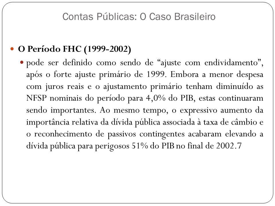 Contas Públicas: O Caso Brasileiro O Período FHC (1999-2002) pode ser definido como sendo de ajuste com endividamento, após o forte ajuste primário de