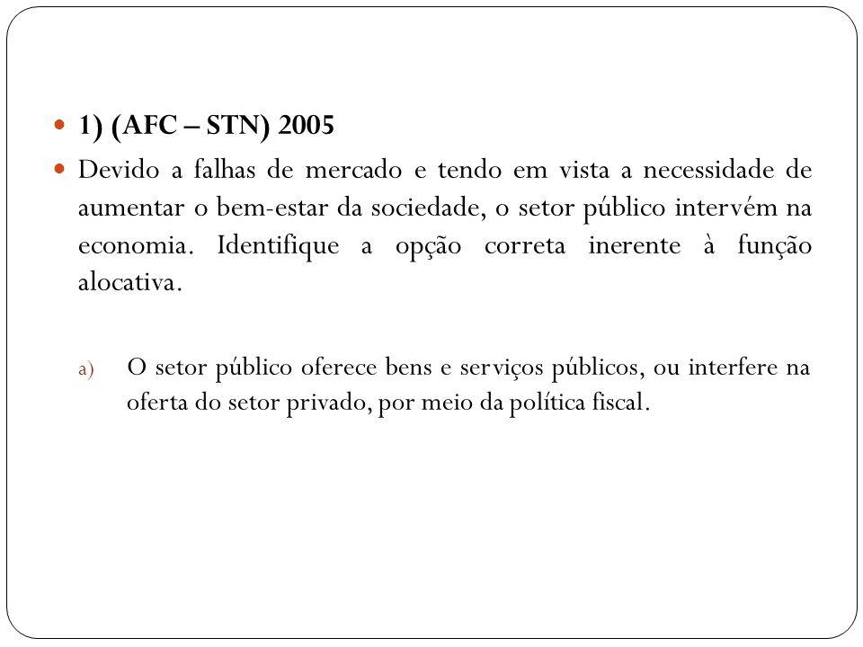 1) (AFC – STN) 2005 Devido a falhas de mercado e tendo em vista a necessidade de aumentar o bem-estar da sociedade, o setor público intervém na econom