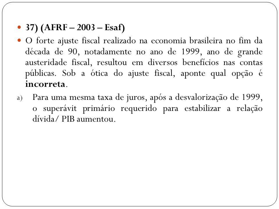 37) (AFRF – 2003 – Esaf) O forte ajuste fiscal realizado na economia brasileira no fim da década de 90, notadamente no ano de 1999, ano de grande aust