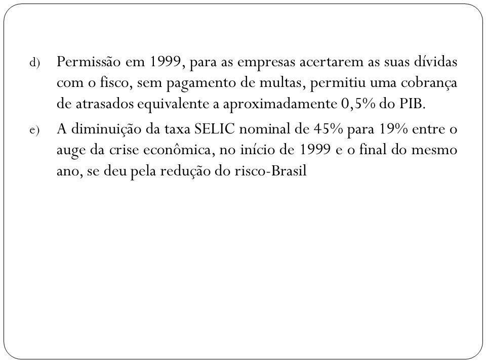 d) Permissão em 1999, para as empresas acertarem as suas dívidas com o fisco, sem pagamento de multas, permitiu uma cobrança de atrasados equivalente