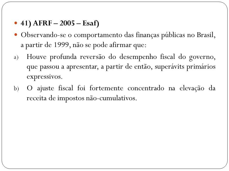41) AFRF – 2005 – Esaf) Observando-se o comportamento das finanças públicas no Brasil, a partir de 1999, não se pode afirmar que: a) Houve profunda re