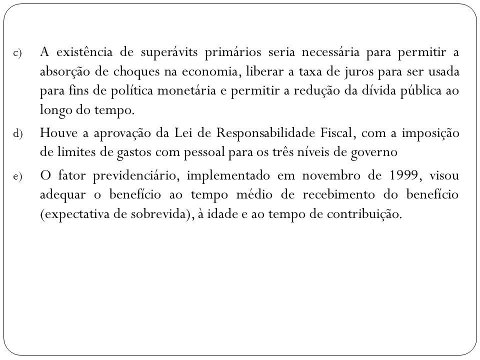 c) A existência de superávits primários seria necessária para permitir a absorção de choques na economia, liberar a taxa de juros para ser usada para