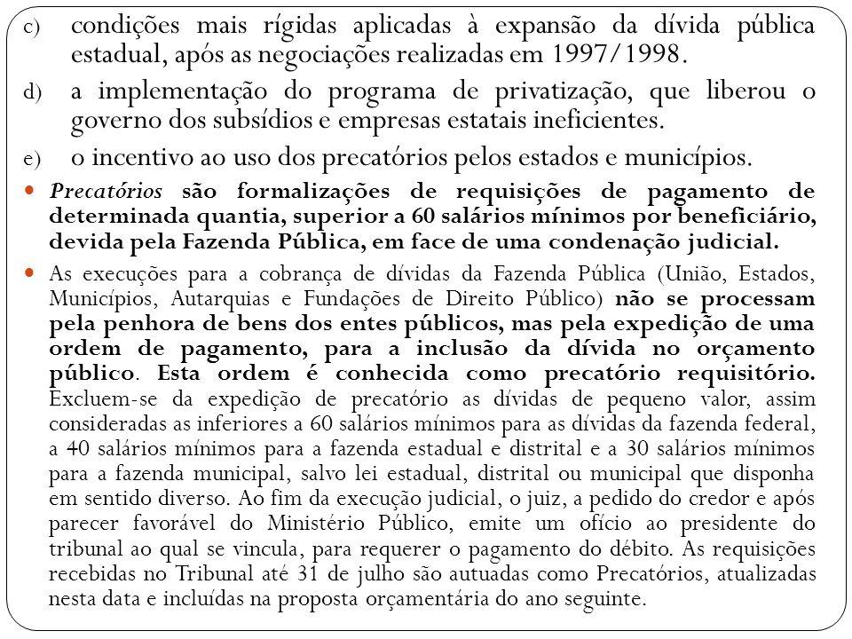 c) condições mais rígidas aplicadas à expansão da dívida pública estadual, após as negociações realizadas em 1997/1998. d) a implementação do programa