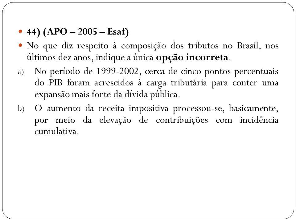 44) (APO – 2005 – Esaf) No que diz respeito à composição dos tributos no Brasil, nos últimos dez anos, indique a única opção incorreta. a) No período