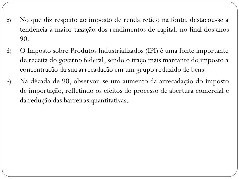 c) No que diz respeito ao imposto de renda retido na fonte, destacou-se a tendência à maior taxação dos rendimentos de capital, no final dos anos 90.