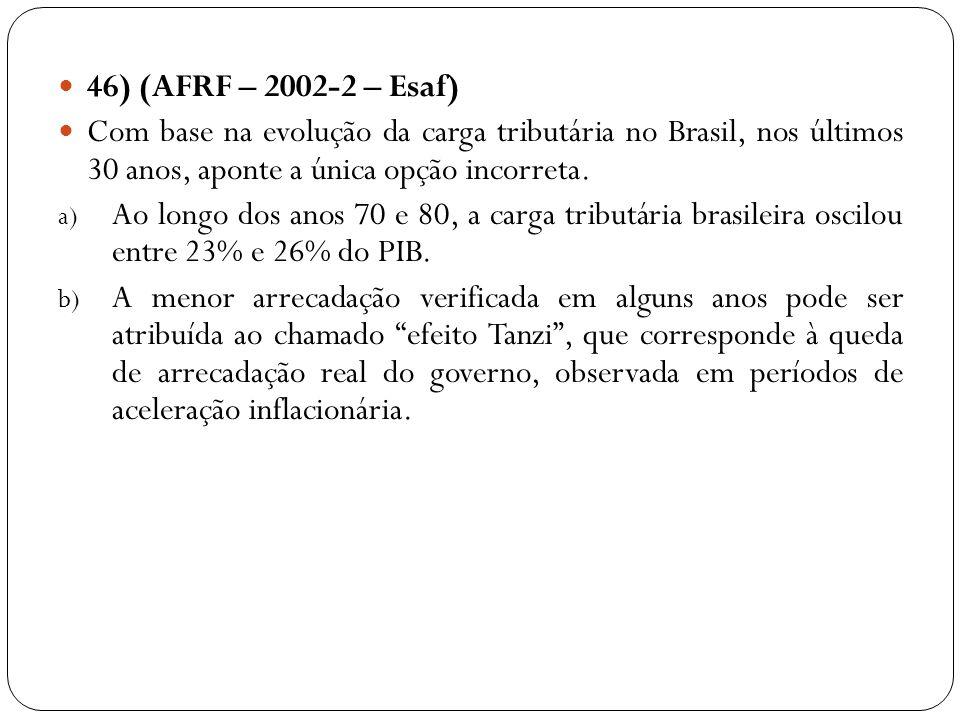 46) (AFRF – 2002-2 – Esaf) Com base na evolução da carga tributária no Brasil, nos últimos 30 anos, aponte a única opção incorreta. a) Ao longo dos an