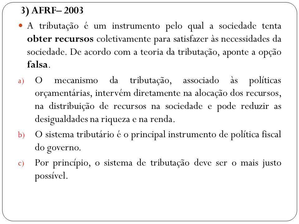 3) AFRF– 2003 A tributação é um instrumento pelo qual a sociedade tenta obter recursos coletivamente para satisfazer às necessidades da sociedade. De