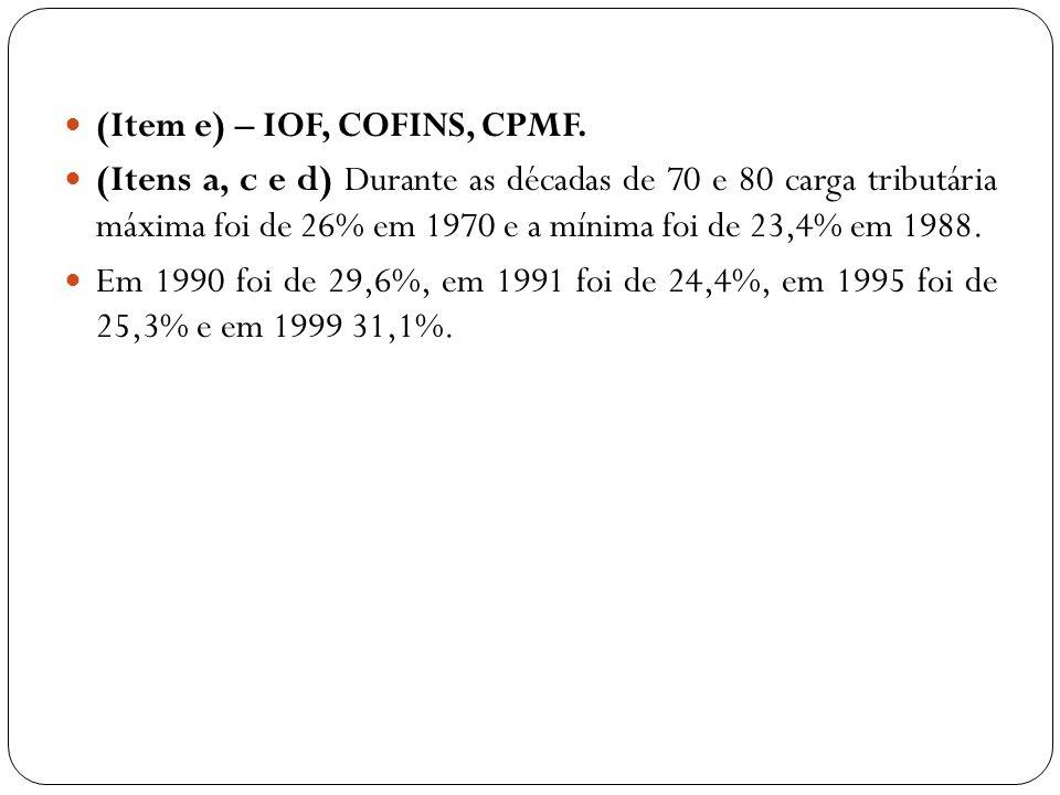 (Item e) – IOF, COFINS, CPMF. (Itens a, c e d) Durante as décadas de 70 e 80 carga tributária máxima foi de 26% em 1970 e a mínima foi de 23,4% em 198