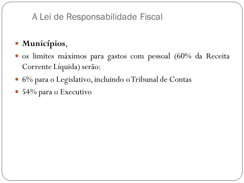 A Lei de Responsabilidade Fiscal Municípios, os limites máximos para gastos com pessoal (60% da Receita Corrente Líquida) serão: 6% para o Legislativo
