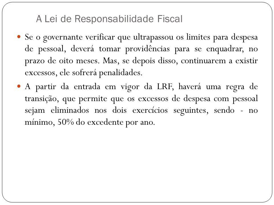 A Lei de Responsabilidade Fiscal Se o governante verificar que ultrapassou os limites para despesa de pessoal, deverá tomar providências para se enqua