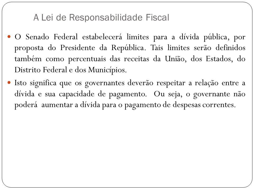 A Lei de Responsabilidade Fiscal O Senado Federal estabelecerá limites para a dívida pública, por proposta do Presidente da República. Tais limites se