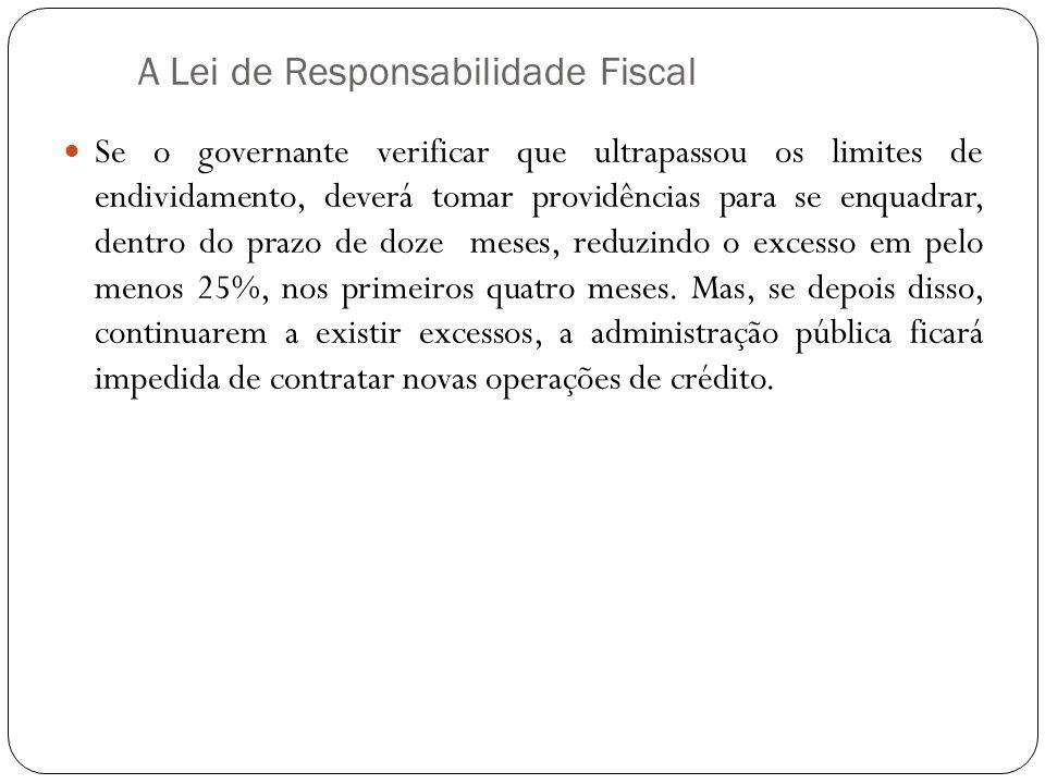 A Lei de Responsabilidade Fiscal Se o governante verificar que ultrapassou os limites de endividamento, deverá tomar providências para se enquadrar, d