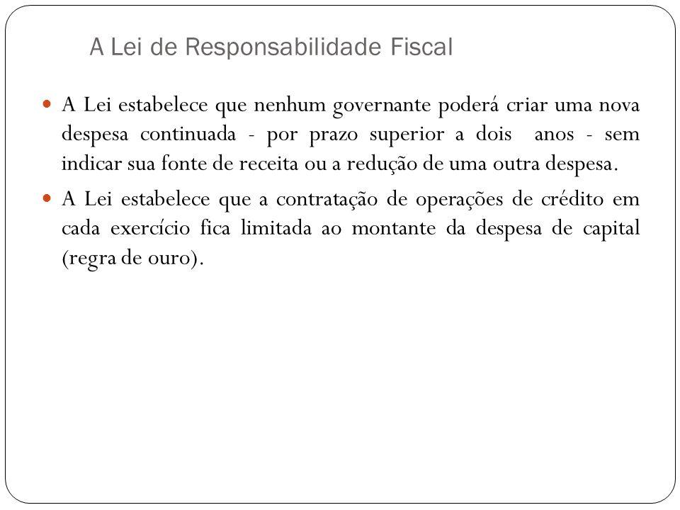 A Lei de Responsabilidade Fiscal A Lei estabelece que nenhum governante poderá criar uma nova despesa continuada - por prazo superior a dois anos - se