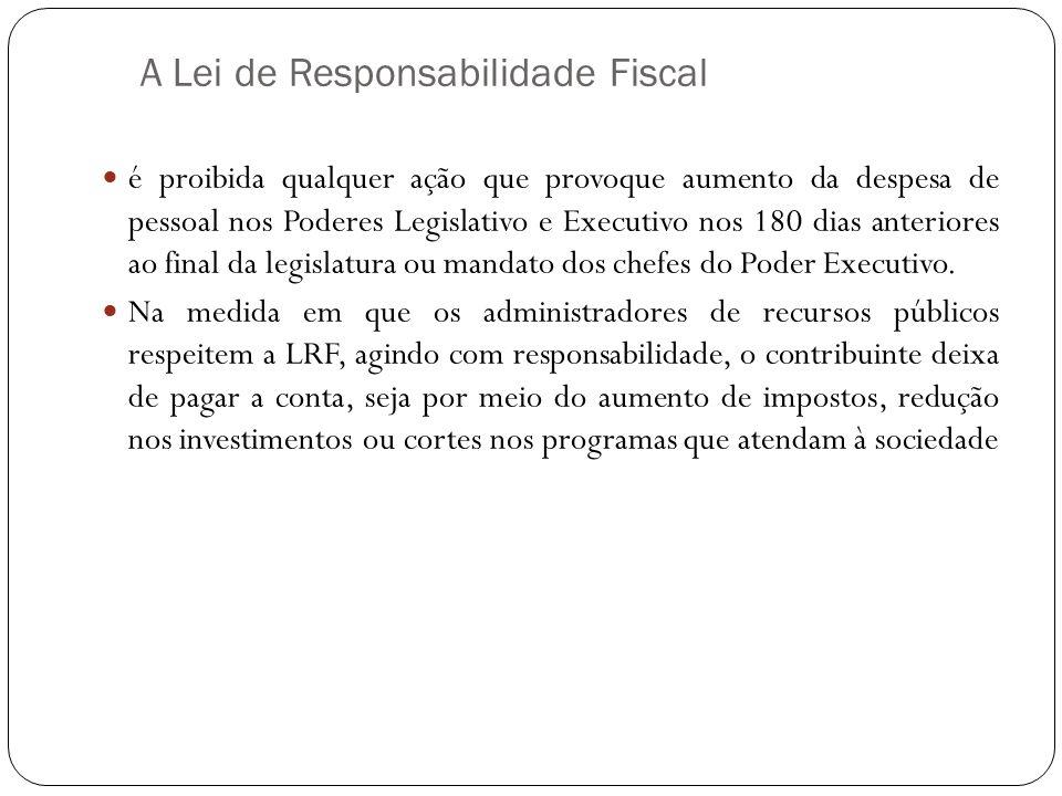 A Lei de Responsabilidade Fiscal é proibida qualquer ação que provoque aumento da despesa de pessoal nos Poderes Legislativo e Executivo nos 180 dias
