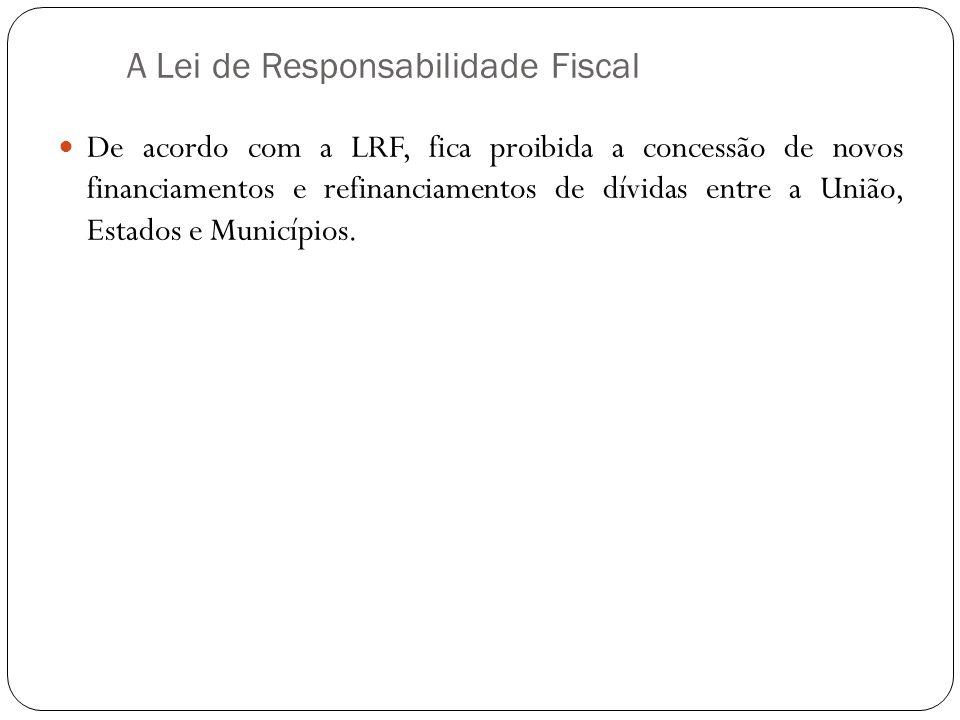 A Lei de Responsabilidade Fiscal De acordo com a LRF, fica proibida a concessão de novos financiamentos e refinanciamentos de dívidas entre a União, E