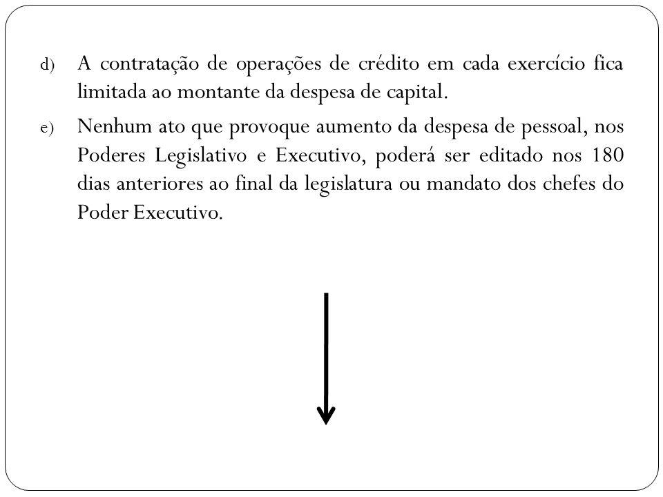 d) A contratação de operações de crédito em cada exercício fica limitada ao montante da despesa de capital. e) Nenhum ato que provoque aumento da desp