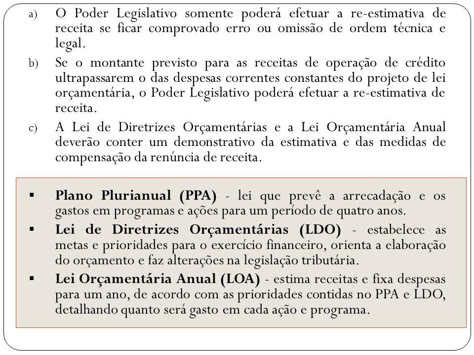 a) O Poder Legislativo somente poderá efetuar a re-estimativa de receita se ficar comprovado erro ou omissão de ordem técnica e legal. b) Se o montant