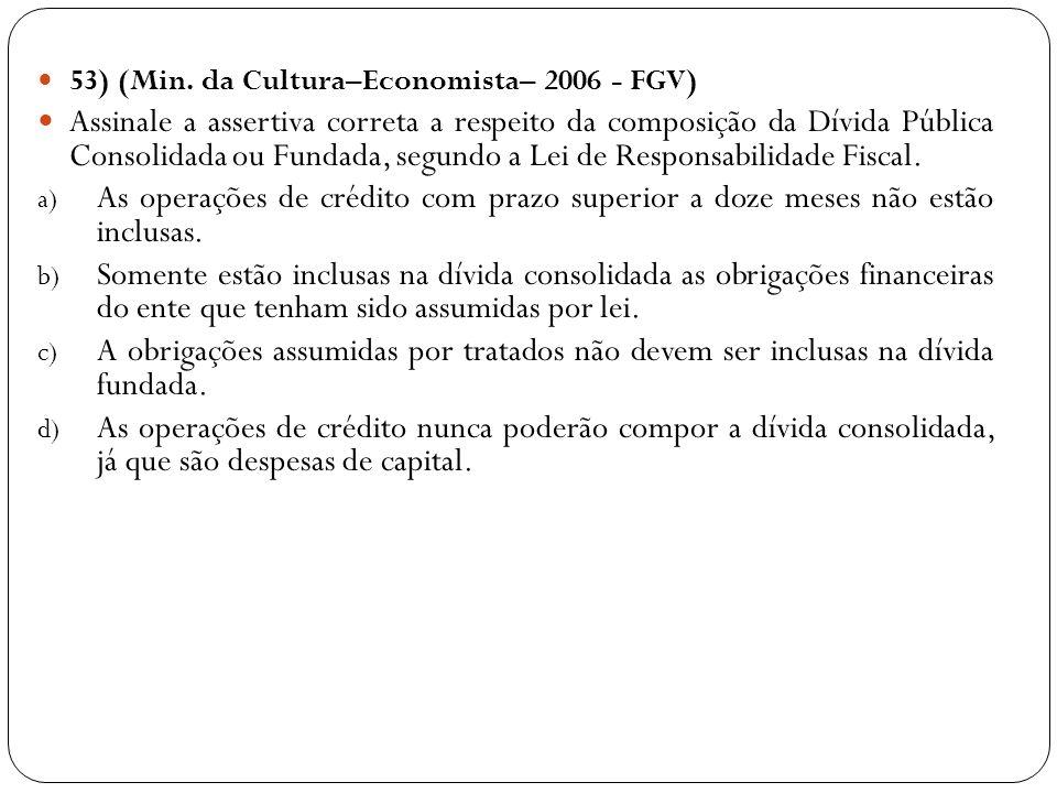 53) (Min. da Cultura–Economista– 2006 - FGV) Assinale a assertiva correta a respeito da composição da Dívida Pública Consolidada ou Fundada, segundo a