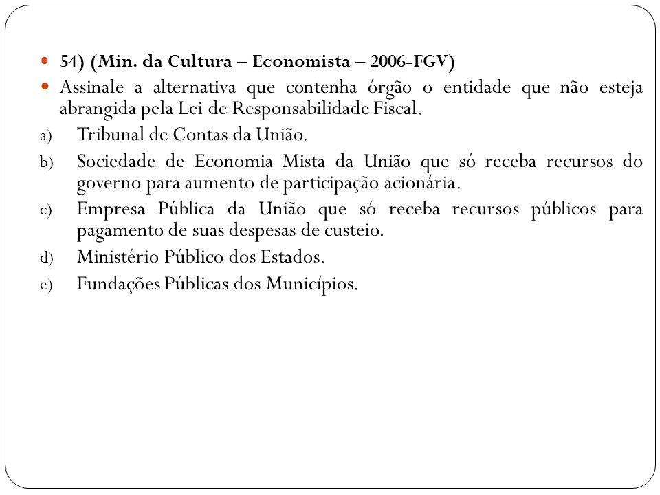 54) (Min. da Cultura – Economista – 2006-FGV) Assinale a alternativa que contenha órgão o entidade que não esteja abrangida pela Lei de Responsabilida
