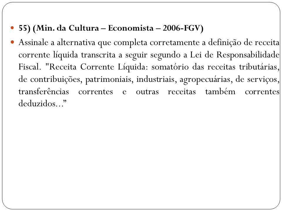55) (Min. da Cultura – Economista – 2006-FGV) Assinale a alternativa que completa corretamente a definição de receita corrente líquida transcrita a se