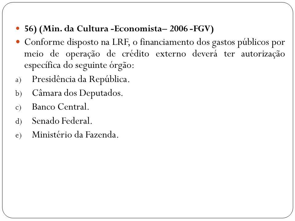 56) (Min. da Cultura -Economista– 2006 -FGV) Conforme disposto na LRF, o financiamento dos gastos públicos por meio de operação de crédito externo dev