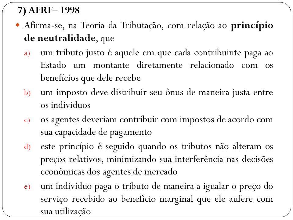 7) AFRF– 1998 Afirma-se, na Teoria da Tributação, com relação ao princípio de neutralidade, que a) um tributo justo é aquele em que cada contribuinte