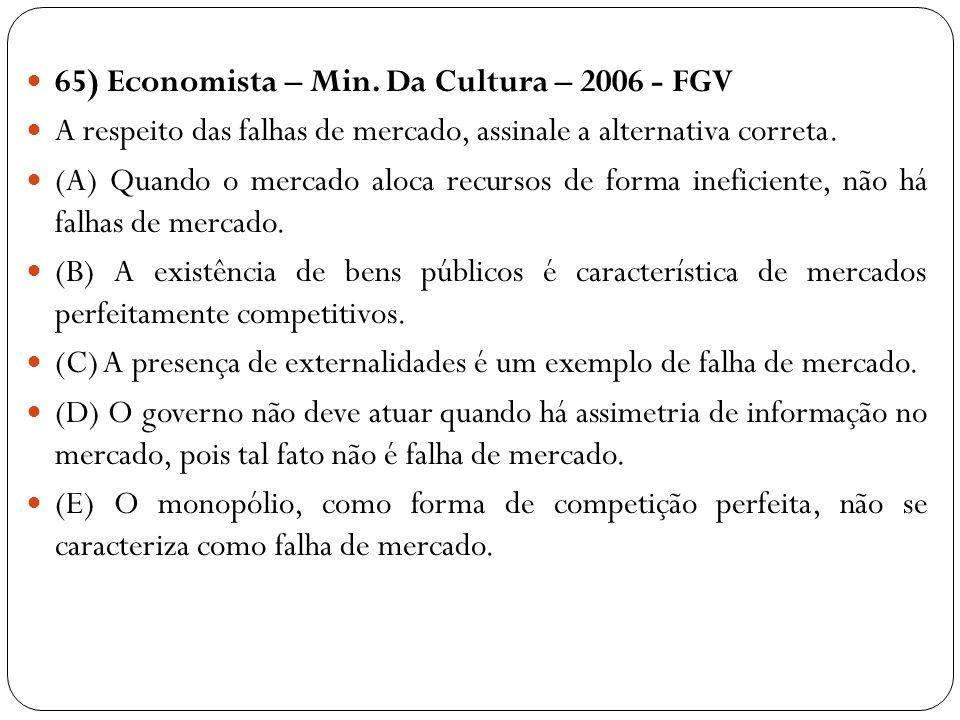 65) Economista – Min. Da Cultura – 2006 - FGV A respeito das falhas de mercado, assinale a alternativa correta. (A) Quando o mercado aloca recursos de