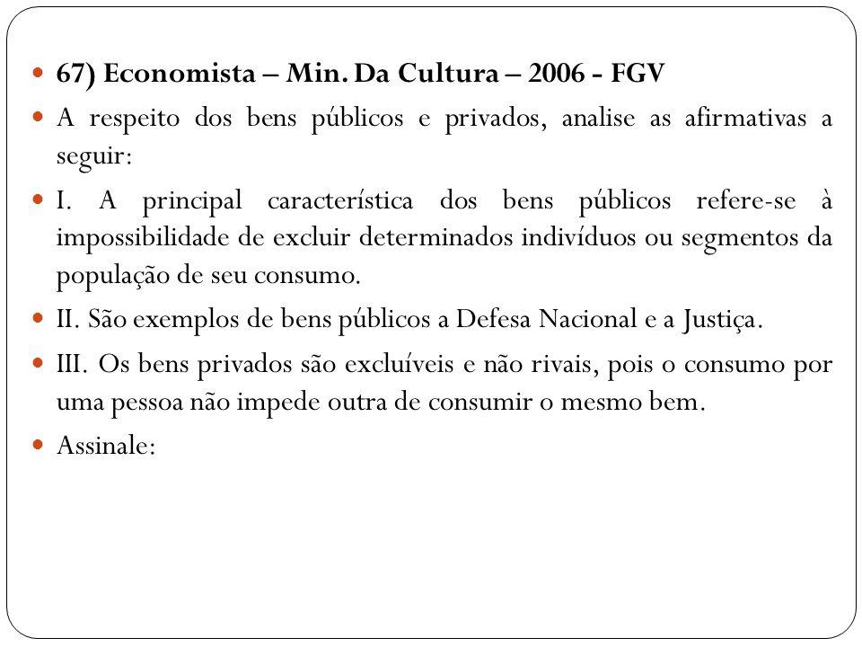 67) Economista – Min. Da Cultura – 2006 - FGV A respeito dos bens públicos e privados, analise as afirmativas a seguir: I. A principal característica
