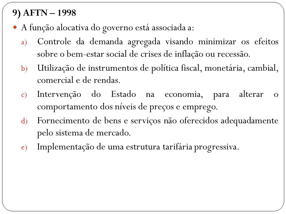 9) AFTN – 1998 A função alocativa do governo está associada a: a) Controle da demanda agregada visando minimizar os efeitos sobre o bem-estar social d