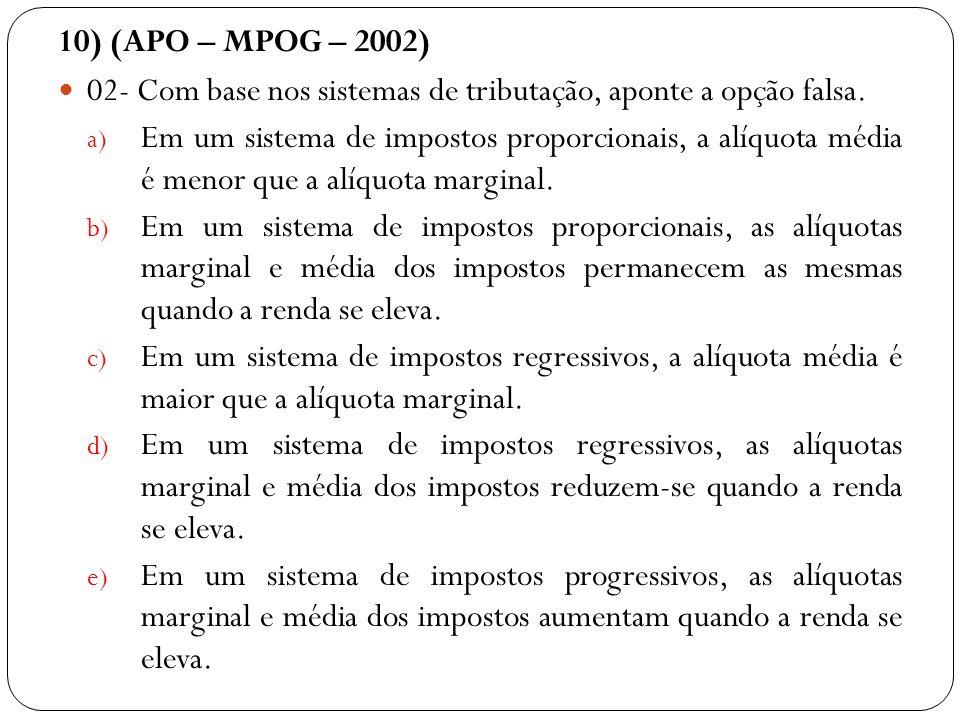 10) (APO – MPOG – 2002) 02- Com base nos sistemas de tributação, aponte a opção falsa. a) Em um sistema de impostos proporcionais, a alíquota média é