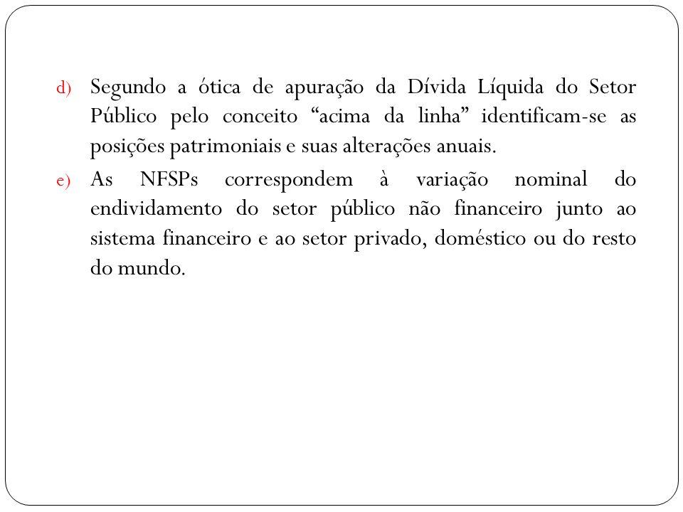 d) Segundo a ótica de apuração da Dívida Líquida do Setor Público pelo conceito acima da linha identificam-se as posições patrimoniais e suas alteraçõ