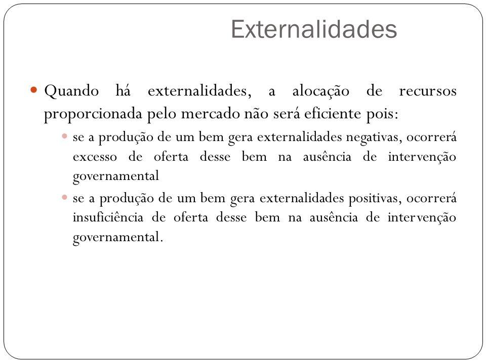 Externalidades Quando há externalidades, a alocação de recursos proporcionada pelo mercado não será eficiente pois: se a produção de um bem gera exter