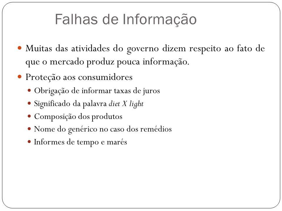 Falhas de Informação Muitas das atividades do governo dizem respeito ao fato de que o mercado produz pouca informação. Proteção aos consumidores Obrig