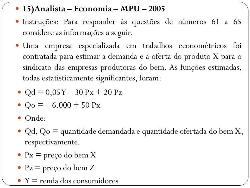 15)Analista – Economia – MPU – 2005 Instruções: Para responder às questões de números 61 a 65 considere as informações a seguir. Uma empresa especiali