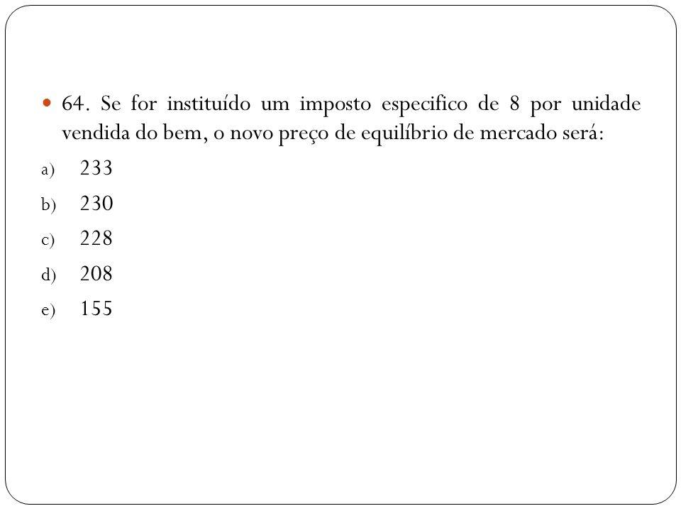 64. Se for instituído um imposto especifico de 8 por unidade vendida do bem, o novo preço de equilíbrio de mercado será: a) 233 b) 230 c) 228 d) 208 e