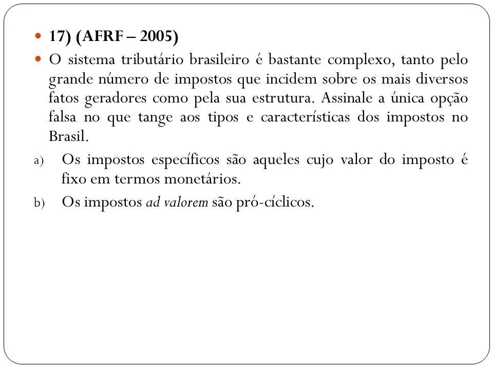 17) (AFRF – 2005) O sistema tributário brasileiro é bastante complexo, tanto pelo grande número de impostos que incidem sobre os mais diversos fatos g