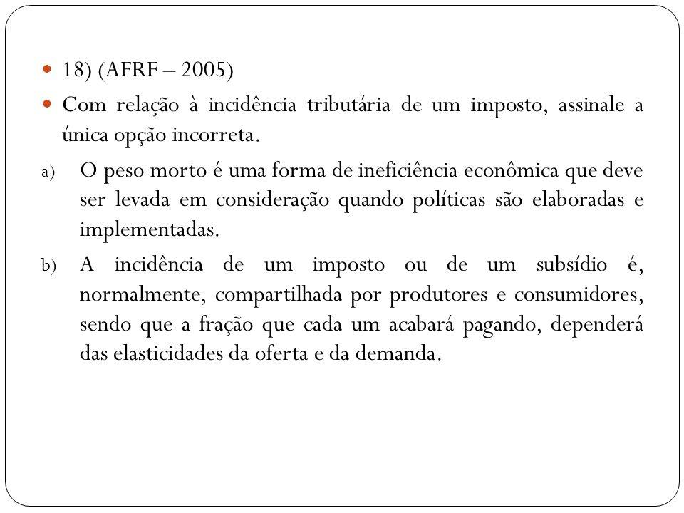 18) (AFRF – 2005) Com relação à incidência tributária de um imposto, assinale a única opção incorreta. a) O peso morto é uma forma de ineficiência eco
