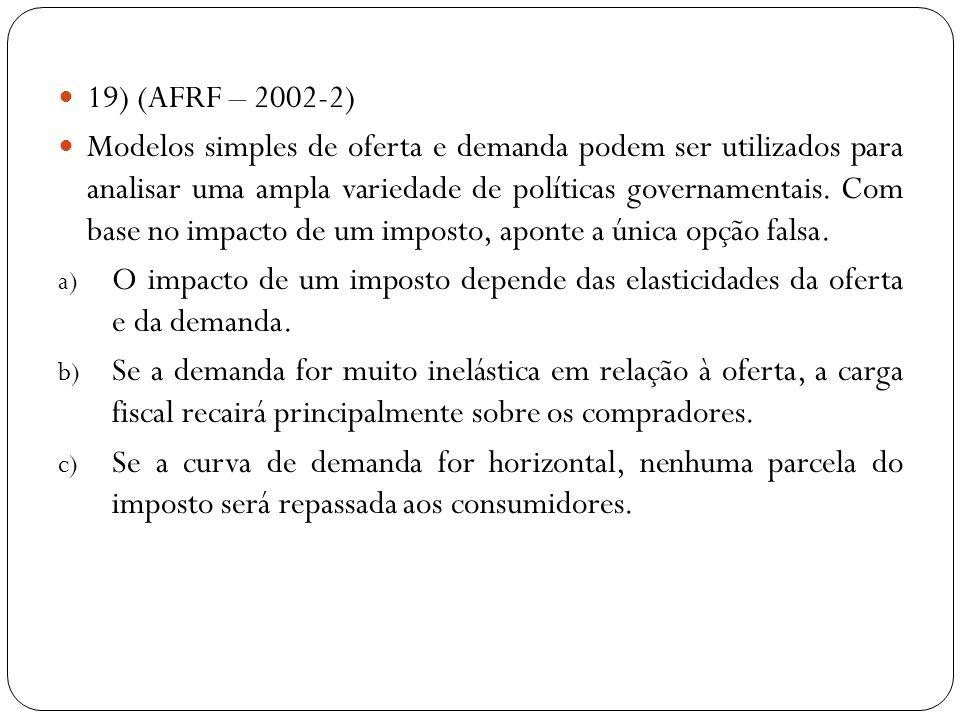 19) (AFRF – 2002-2) Modelos simples de oferta e demanda podem ser utilizados para analisar uma ampla variedade de políticas governamentais. Com base n